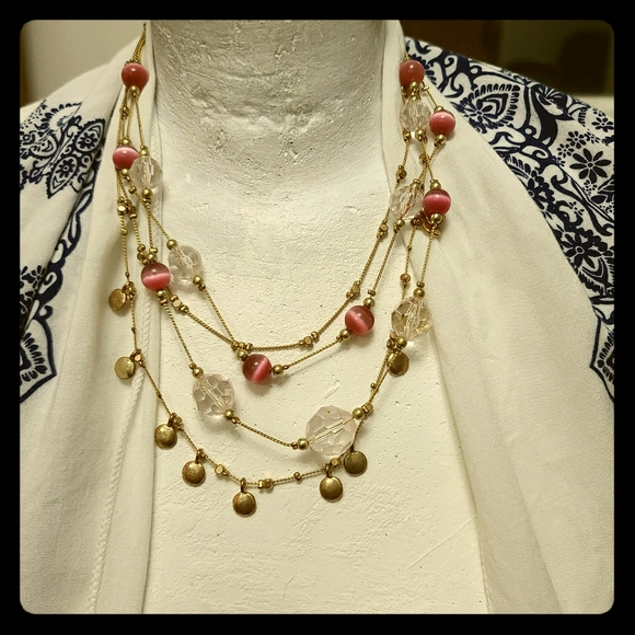 Multi layer Pink Cat Eye Beaded Gold tone chains
